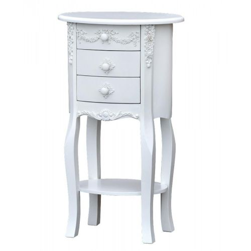 Boudoir Provence Pure White 3 Drawer Oval Cabinet